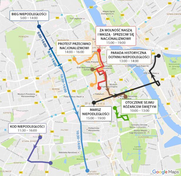 Trasy marszów 11 listopada graf.tvn24.pl