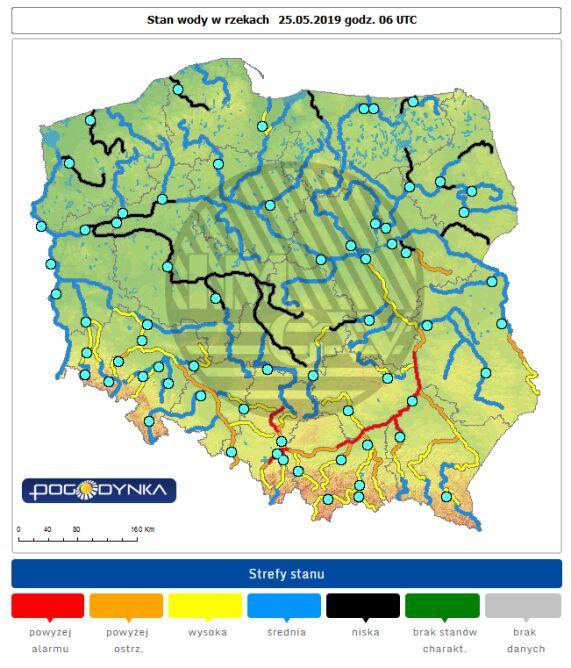 Stan wody w rzekach o godzinie 8 w sobotę (pogodynka.pl/polska/hydro)