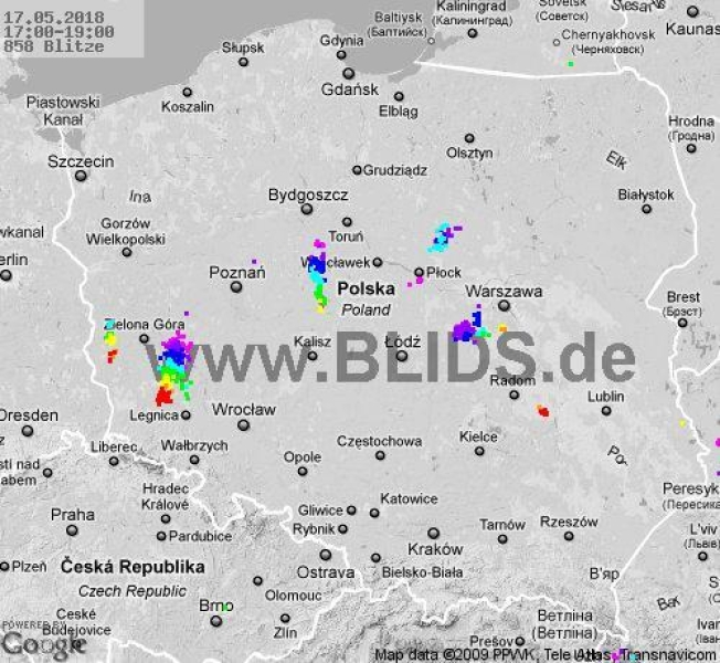 Ścieżka burz w godzinach 17-19 (blids.de)