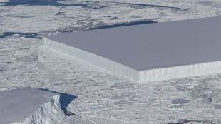 Prostokątna góra lodowa zaskakuje nie tylko kształtem