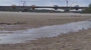Niski stan wody przy odgałęzieniu Wisły przy Moście Południowym (Mateusz Szmelter/tvnwarszawa.pl)