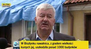 Burmistrz Bisztynka i wojewoda warmińsko-mazurski o stratach po gradobiciu (TVN24)